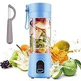 Exprimidor Eléctrico USB Juicer Licuadora Taza de Jugo Máquina de Exprimidor de Botellas de Agua de 400 ml Con 4 Cuchillas, Batería Recargable de 1000 mAh (Azul)