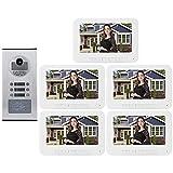 Videoportero Intercomunicador Timbre Kit de Intercomunicador de Timbre con 5 Monitor Interior y 1 Cámara Exterior Sorporte Visión Nocturna Intercomunicador Bidireccional para Casa/Hotel