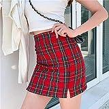 TINGS Fashion Korean Style Plaid Skirt Women Streetwear High Waist Split Chic Short Skirts Summer A Line Harajuku Mini Skirts,Hong LAN GE zi,L