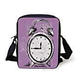 FFLISHD Doodle,Retro Alarm Clock Figure with Grunge Effects Classic Vintage Sleep Graphic,Purple White Black Print Kids Crossbody Messenger Bag Purse