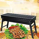 TOPQSC Barbecue Grill Barbacoa portátil Carbón de leña Conjunto de Barbacoa de Acero Inoxidable, Smoker Grill para cocinar al Aire Libre Camping Picnic (Pequeña)