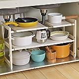 Organizador extensible para debajo del fregadero, 2 niveles, multifuncional con estantes extraíbles y tubos de acero para cocina, baño y jardín