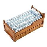 1:12 Camas de casa de muñecas en miniatura Mini Casa de muñecas de madera Muebles de la reina Princesa Cama Almohada decorativa Cajones Educativos Juegos de imaginación Juguetes de regalo (Brown)