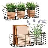 mDesign Juego de 2 estantes de metal para baño, cocina, pasillo o lavadero – Estante de pared ancho en alambre de metal – Cestas de rejilla compactas – color bronce
