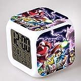 Pokemon Despertador para Niñas,Reloj Despertador Digital con 7 Colores Luz de Noche para Infantil,Hora Alarma Temperatura Fecha de Visualización A2