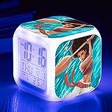 Superd Mesita de Noche para niños Reloj Despertador Digital LED luz de Noche Colorida Estado de ánimo Alarma Reloj Cuadrado Mudo con Puerto de Carga USB Viaje pequeño Reloj Despertador Regalo Q4721