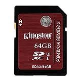 Kingston SDA3/64GB - Tarjeta de Memoria SDHC/SDXC UHS-I U3, 64 GB velocidades 90R/80W