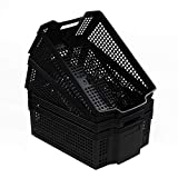 Mayish 14 L Cesta Cestas de Almacenaje Grandes Plástico para La Colada, Color Negro, 4 Paquetes