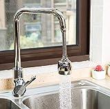 360 ° Giratorio Agua Ahorro Grifo, Grifo Pulverizador de Tres Engranajes Ajustable Filtro Agua Ahorro Grifo Difusor Accesorios de Cocina Baño (Plata larga)