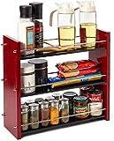 EZOWare 3 Niveles Especiero de Madera y Acero Inoxidable, Cocina Baño Estante de Pie Libre Encimera Organizador Multiuso para Especias/Hierbas, Baño, Botellas, Frascos - Rojo y Negro