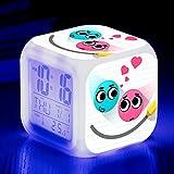 Superd Mesita de Noche para niños Reloj Despertador Digital LED luz de Noche Colorida Estado de ánimo Alarma Reloj Cuadrado Mudo con Puerto de Carga USB Viaje pequeño Reloj Despertador Regalo Q7655