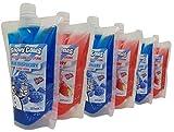 Bolsas de jarabe de aguanieve con conos de nieve, 6 unidades de las más populares frambuesa azul y fresa congelar y apretar, listas para beber, además de pajitas Jumbo gratis.