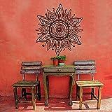 Ajcwhml Mandala Flor Pared calcomanía Sala de Estar Flores Hermoso patrón de Flores Pegatina Vinilo Pared Abstracta Arte Mural - 57X52 CM-57X52CM