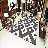 TANGYUAN alfombras Salon Grandes Natural Suave decoración - Accesorios para el hogar Alfombra Blanco y Negro Exquisita combinación Creativa diseño geométrico antidesvanecimiento-El 120x 160CM