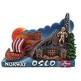 Imán para nevera 3D de Oslo Noruega, regalo de recuerdo, decoración para el hogar y la cocina, colección de imanes para nevera de Oslo Noruega