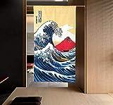 LIGICKY Cortina japonesa Noren Ukiyoe Hokusai The Great Wave off Kanagawa Mount Fuji Tapiz para colgar la puerta para decoración del hogar, 85 x 149 cm