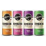 Té sin procesar Remedy Kombucha, bebida espumosa cultivada en vivo, paquete variado de 4 sabores (caja mezclada)