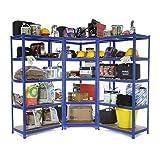 Racking Solutions - Sistema de almacenamiento en esquina de acero, cargas pesadas, 1 unidad estantería de esquina (5 niveles 1800mm Al x 900mm An x 450mm Pr) y 2 estanterías