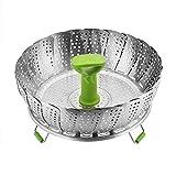HomeYoo Adjustable Cesta Vaporera Vegetal, Cesta Vapor frutero Plegable Acero Inoxidable con Mango Extensible Ajustar a Diferentes tamaños de Pot (Verde, Diámetro Medio: 18cm)