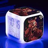Superd Mesita de Noche para niños Reloj Despertador Digital LED luz de Noche Colorida Estado de ánimo Alarma Reloj Cuadrado Mudo con Puerto de Carga USB Viaje pequeño Reloj Despertador Regalo Q6677