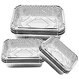 Elinala Bandejas de Aluminio Desechables, Bandejas De Papel Aluminio Para Hornear, 30 PCS 450ML, 700ML y 1100ML Bandeja Rectangular de Aluminio con Tapa para Hornear, Cocinar y Almacenar Alimentos