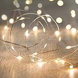 Lights4fun - Guirnalda de Luces con 50 Micro LED de Luz Blanca Cálida de Pilas