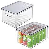 mDesign Juego de 2 cajas organizadoras de plástico para nevera – Recipiente para guardar alimentos con tapa y asas – Organizador para nevera, cocina y despensa apto para alimentos – transparente/gris