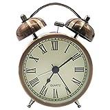 EASEHOME Doble Campanas Reloj Despertador de Cuarzo Analógico, Vintage Despertadores Silencioso sin Tictac Despertadores de Mesita Relojes Alarma Fuerte Luz Nocturna, 3 Pulgadas Números Romanos