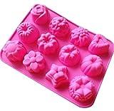 Oyfel Mini Moldes de Silicona de Flores Rosas Redondos antiadherentes Moldes de Fondant de Pastel de Flores cavidades Decoración Chocolate Tartas gelatina Velas