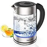homgeek Hervidor de Agua Electrico, 1.7 litros Calentador de Agua, 2200W Ebullición Rápida con Libre de BPA, Vidrio Borosilicato, Desconexión Automática
