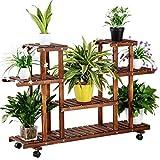 Yaheetech Estantería de Macetas Estante de Plantas Soporte Decorativo para Jardín con Ruedas