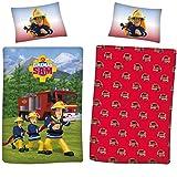 Juego de funda nórdica reversible FIREMAN SAM para niños y niñas 2 en 1 diseños 100% algodón suave lino juego azul/rojo (Fireman Sam, individual)