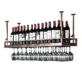 DJSMjbj - Botellero de Hierro para Colgar Copas de Vino, Estante de decoración de Techo para Bar, restaurantes, Cocina o Bodega de Almacenamiento, marrón, 150 cm