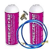 REPORSHOP - 2 Botellas Gas Ecologico Refrigerante Freeze Organico +32 350Gr + Valvula + Manguera Sustituto R32, R410A