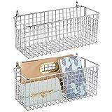 mDesign Juego de 2 estantes de pared de metal – Estantería de rejilla mediana para pasillo, dormitorio, etc. – Organizador de cartas, carteras, gafas de sol o accesorios de baño – plateado