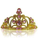 Katara 1682 - Diadema de Princesa Accesorio de Disfraz Corona de Cuentos de Hadas - Dorada con Cristales, Rosa Claro