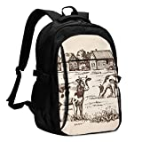 XCNGG Mochila USB con múltiples bolsillos, mochila informal, mochila escolar Laptop Backpacks Tactical Vector Image of Village and Landscape Farm Office & School Supplies with USB Data Cable and Music