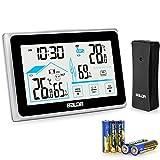 BACKTURE Estacion Meteorologica, Termometros Higrometro Digitales Inalámbrica Interior con Sensor Exterior y 5 AAA Pilas, con Pantalla Táctil, Temperatura, Humedad, Hora Local, 3 Canales