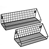 SONGMICS Estantes de Pared Metálicos, Cada uno con Carga de 15 kg, Juego de 2 Estantes Colgantes con 10 Ganchos, para Cocina, Dormitorio, 30 x 12 x 13 cm, 40 x 12 x 13 cm, Negro LFS02BK