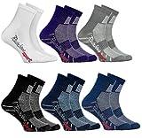 Rainbow Socks - Niño Niña Calcetines Deporte Colores Algodón - 6 Pares - Blanco Violeta Gris Azul Marino Negro Jeans - Talla 30-35