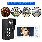 Video Cableado de intercomunicación,7' TFT LCD Monitor Interior, IR-Cut, 2-Vías de Audio, Visión Nocturna,Desbloqueo de Huella Digital con Tarjeta de Acceso,Impermeable(Mit ID Keyfobs)