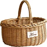 Electric oven Caja de almacenamiento de mimbre tejida al aire libre cesta de la compra portátil cesta de la compra cesta de la fruta del hogar cesta de bambú tejida (tamaño: L)