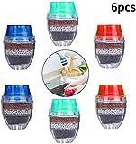 Filtro de agua para grifo,BETOY 6 piezas Grifo de agua de carbón activado – Purificador de agua limpiador cartucho de filtro para el hogar cocina (rojo, azul, verde)
