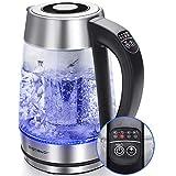 Aigostar Cris - Hervidor de agua, vidrio de borosilicato con infusor de té, 5 niveles de temperatura, 1.7L, 2200 W, función mantener caliente, iluminación LED, apagado automático, libre de BPA.