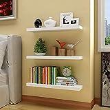 aimu Juego de 3 estantes flotantes de pared, estantes de madera para pared, estante organizador de almacenamiento del hogar, estantes de exhibición con soportes invisibles, color blanco.