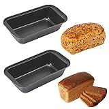 JWShang - Paquete con 2moldes rectangulares para pan, en acero al carbono, 2unidades
