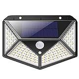 Bakaji Juego de 2 lámparas de carga solar, 100 LED, para exterior, con sensor de movimiento, PIR, luz blanca de alta luminosidad, 1000 lm, 3 modos, foco de jardín, iluminación de seguridad