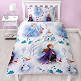 Frozen 2 - Funda de edredón Reversible con Funda de Almohada a Juego, diseño de Anna, Elsa y Olaf, Color Blanco