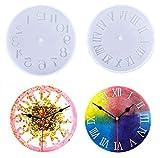 Moldes de resina para reloj Números romanos de cristal Números arábigos Molde de silicona para reloj Moldes de fundición epoxi Molde para hacer joyas para Navidad Regalo de Halloween Paquete de 2