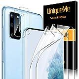 UniqueMe [2 Pack] TPU Protector de Pantalla y [2 Pack] Protector de Lente de cámara de Vidrio Templado para Samsung Galaxy S20 Plus (6.7 Pulgadas)